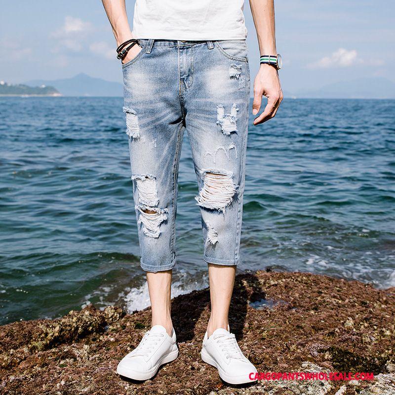 Capri Pants Male Light Blue Green Capri Pants Leisure Jeans Summer Fashion