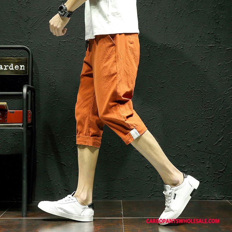 Capri Pants Male Red Capri Pants Leisure Men Linen Thin Section Shorts