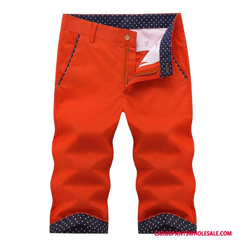 Spodnie Capri Męskie Czerwony Nowy Lato Męskie Cienkie Casual Spodnie Bawełna
