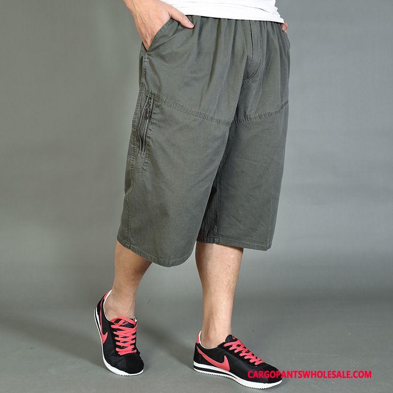 Capri Pants Men Army Green Medium Thin Section Large Size Pants Leisure
