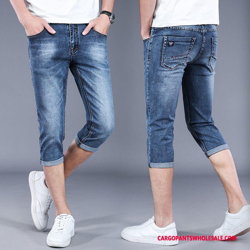 Spodnie Capri Męskie Niebieski Mały Gorąca Sprzedaż Slim Fit Proste Lato