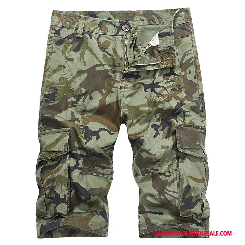 Pantaloni Capri Uomo Camuffamento Verde Dell'esercito Di Cotone Media Tendenza Pantaloni Casual Pantaloncini