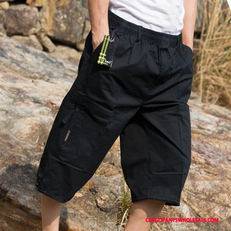 Capri Pants Men Camouflage Black Pants Capri Pants Cargo Pants Casual Pants Medium