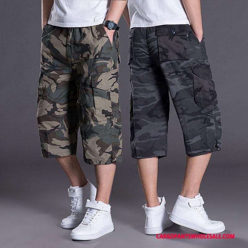 Capri Pants Men Camouflage Green Large Size Pants Cargo Pants Medium Multi-pocket