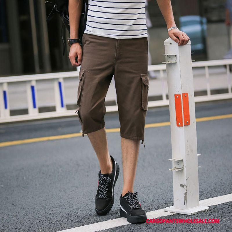 Capri Pants Men Capri Pants Large Size Leisure Loose Multiple Pockets