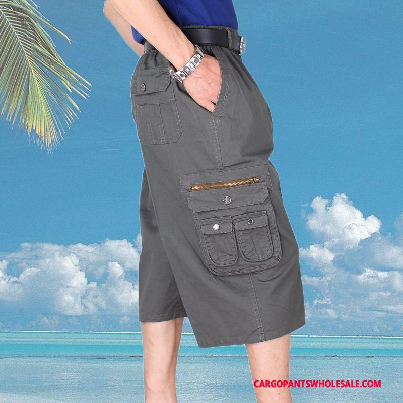 Capri Pants Men Deep Gray Capri Pants Cotton Beach Medium Elastic