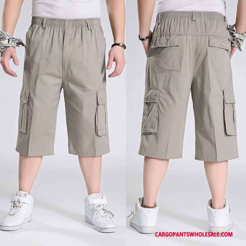 Spodnie Capri Męskie Szary Duży Rozmiar Casual Cienka Duży Szerokie