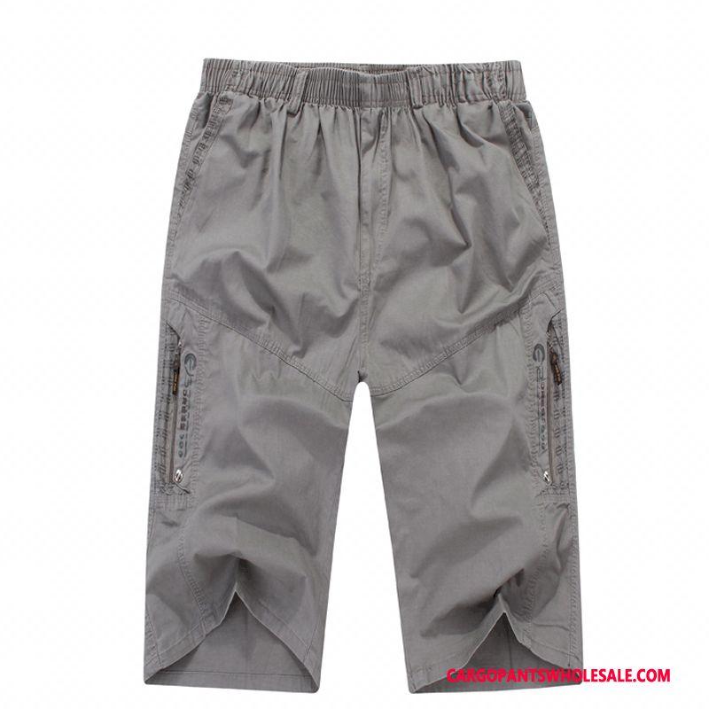 Capri Pants Men Green Gray Capri Pants Plus Size Large Size Loose The New