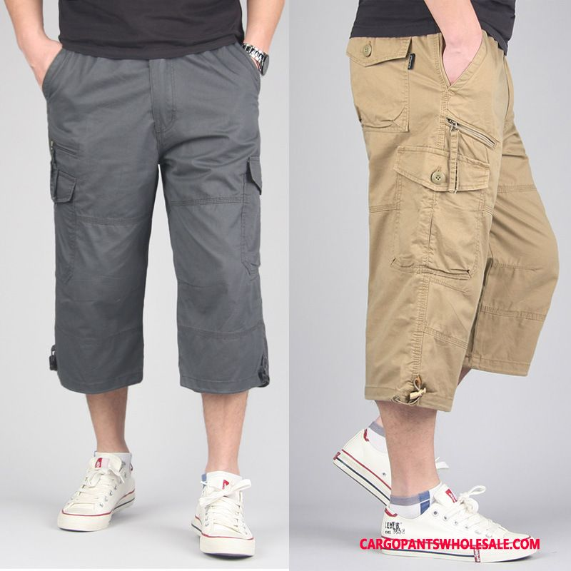 Capri Pants Men Khaki Cargo Pants Capri Pants Summer Motion Multi-pocket