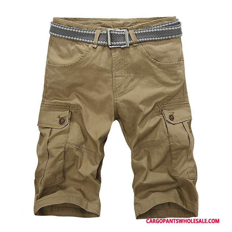 Capri Pants Men Khaki Multiple Pockets Casual Pants Clearance Capri Pants Beach