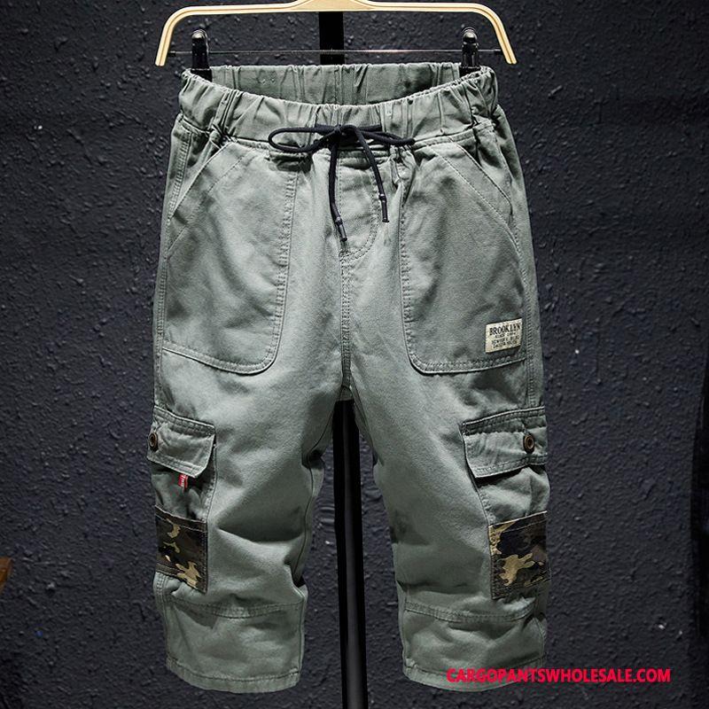 Spodnie Capri Męskie Jasny Zielony Casual Spodnie Więcej Kieszeni Plażowe Spodnie Cargo Sportowe