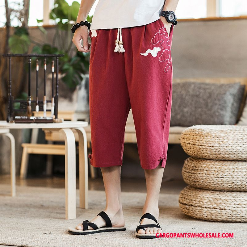 Capri Pants Men Red Chinese Style Nationality Casual Pants Summer Cotton And Linen