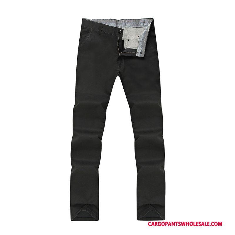 Cargo Pants Male Black Plus Size Straight Men Solid Color Fat The New
