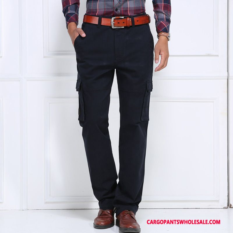 Cargo Pants Male Blue Black The New Multiple Pockets Men Casual Pants Solid Color Spring