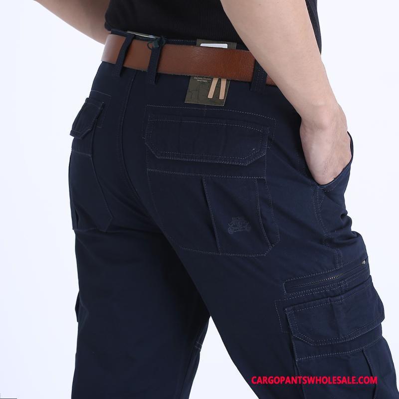 Spodnie Cargo Męskie Niebieski Szerokie Cargo Męskie Duży Rozmiar Casual Spodnie Proste