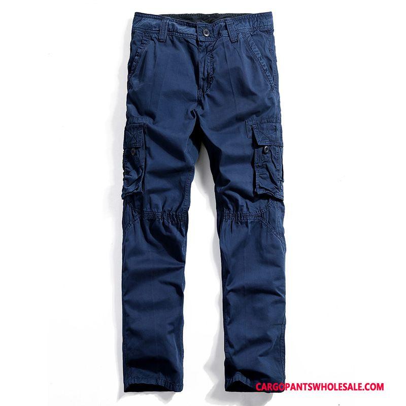 Pantaloni Cargo Maschio Blu Pantaloni Tasca Uomo Cargo Larghi Di Cotone