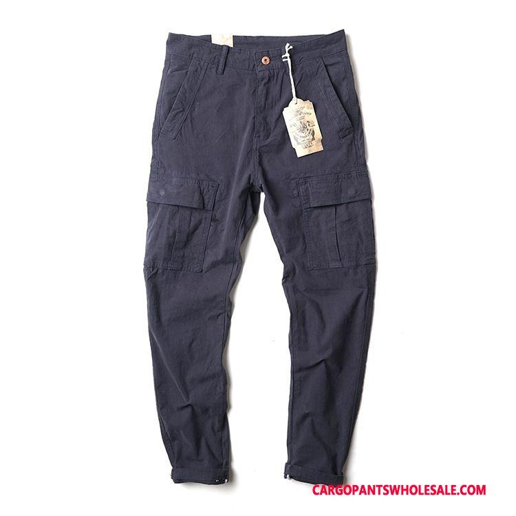Spodnie Cargo Męskie Niebieski Wiele Kieszeni Bawełna Męskie Casual Spodnie Europa Sprane
