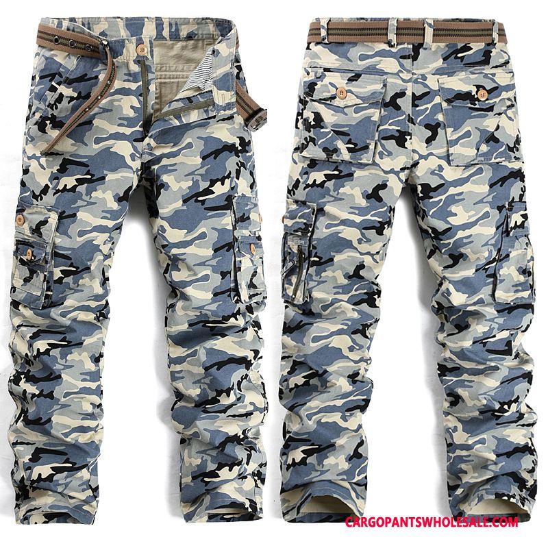 Cargo Pants Male Camouflage Blue Green Casual Pants Cargo Men Slim Fit Tide Cargo Pants