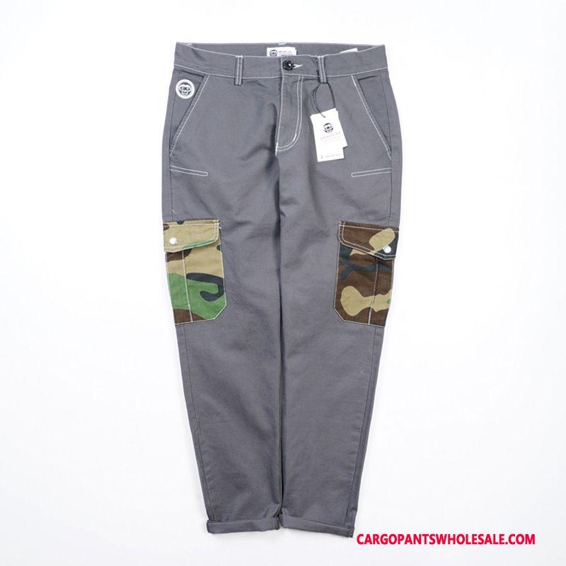 Spodnie Cargo Męskie Kamuflaż Zielony Szary Proste Młody Casual Spodnie Modna Marka Szycie
