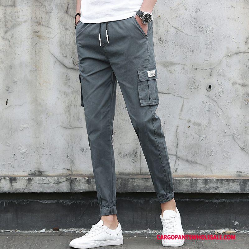 Cargo Pants Male Deep Gray Spring Summer Men Cotton Cargo Pants Casual Pants
