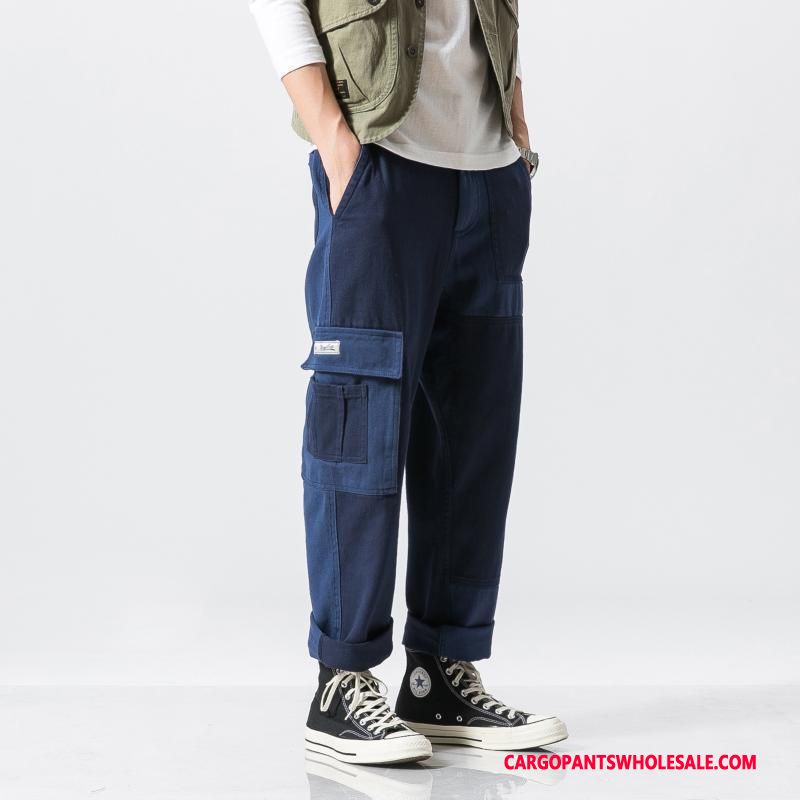 Cargo Pants Male Green Cargo Pants Straight Men Color Matching Tide Cotton