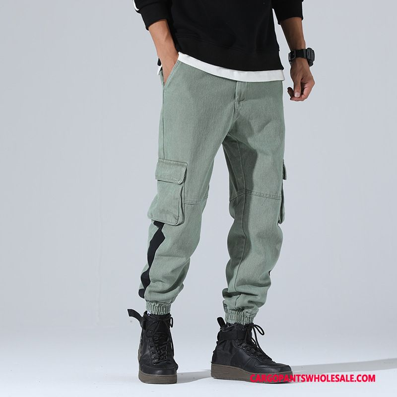 Cargo Pants Male Green Green Big Pocket Solid Color Autumn Leisure The New