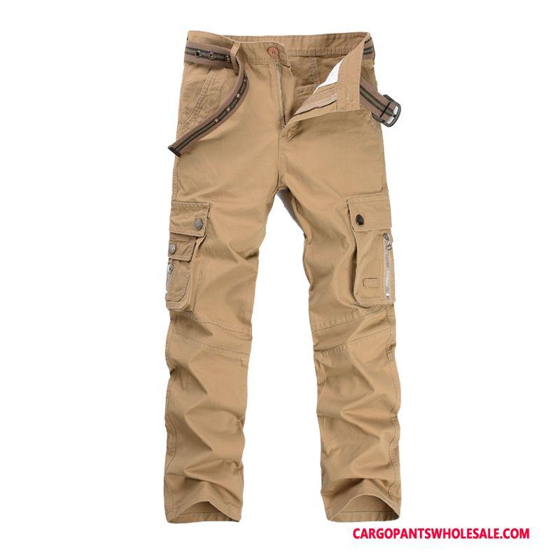 Cargo Pants Male Khaki Cargo Pants Trousers Men Straight Mid Waist Leisure