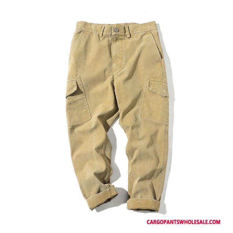Cargo Pants Male Khaki Green Casual Pants Big Pocket Straight Solid Color Loose
