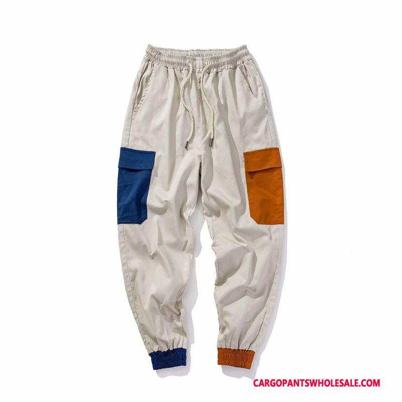 Cargo Pants Male Khaki White Trend Thin Section Men Small Cargo Pants Casual Pants