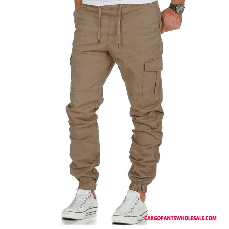 Cargo Pants Male Khaki Woven Multi-pocket Men Cargo Motion Trousers