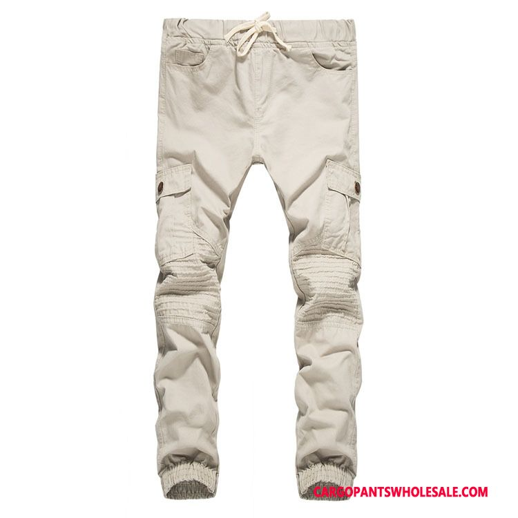 Cargo Pants Male Light Gray Cargo Pants Autumn Washed Casual Pants Trousers