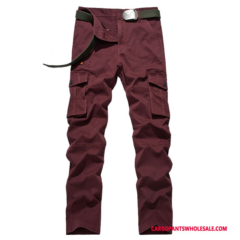Cargo Pants Male Red Cotton Military Pants Spring Autumn