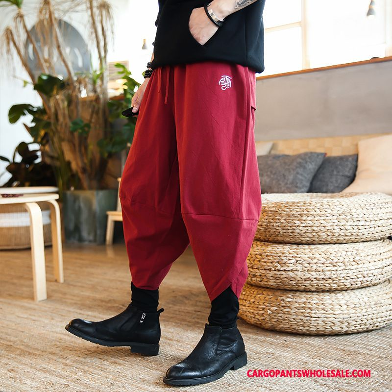Cargo Pants Male Red Harlan Chinese Style Loose Pants Cool
