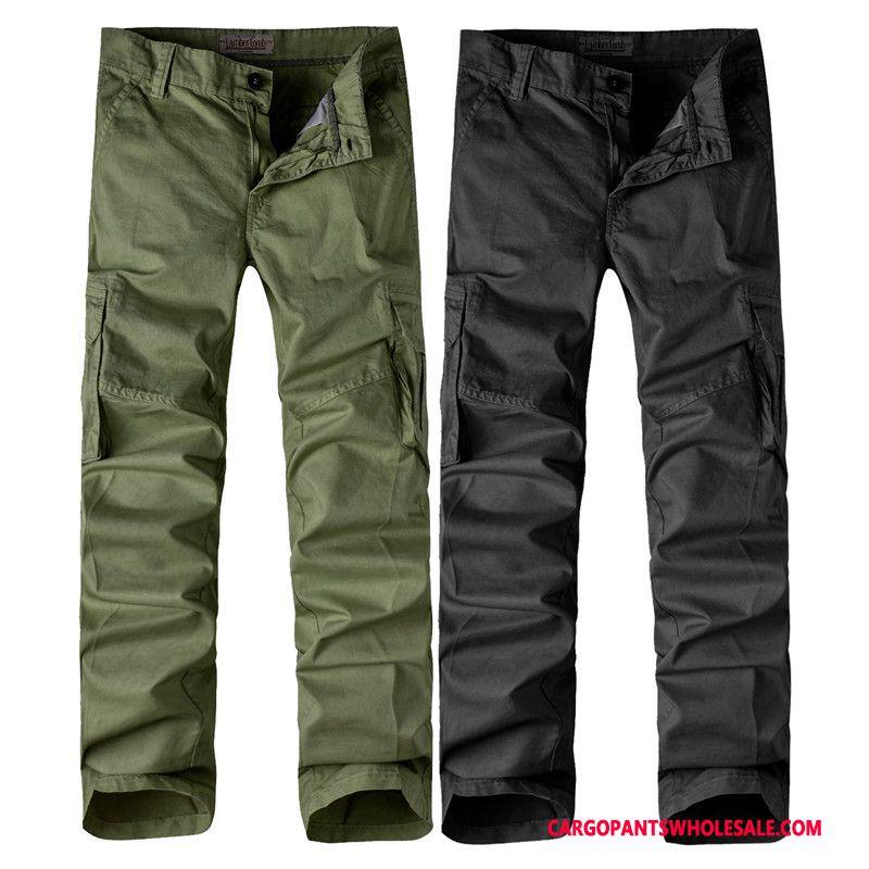 Pantalones Cargo Hombre Ejercito Verde Bolsillos Militar Gran Venta Ropa De Invierno Color Solido Barata