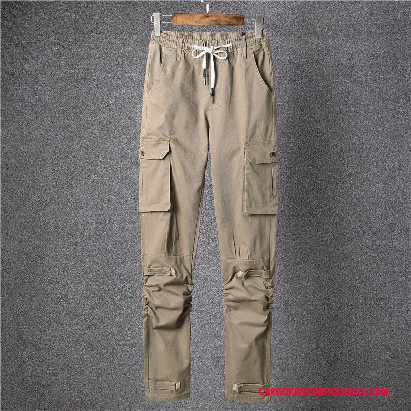 Cargo Pants Men Khaki Light Small Elastic Force The New Casual Pants Multi-pocket