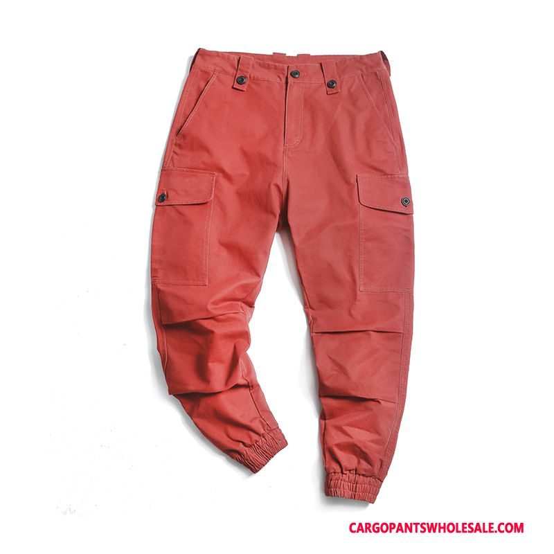 Cargo Pants Men Red Green Autumn Casual Pants Solid Color Pocket Trousers