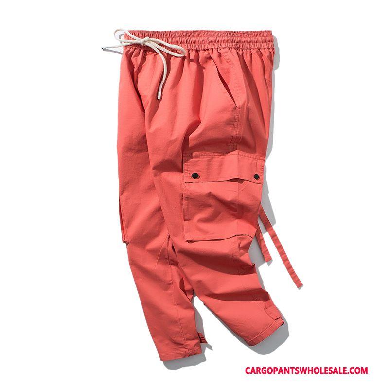 Cargo Pants Men Red Original Spring Beam Foot Cargo Pants High End