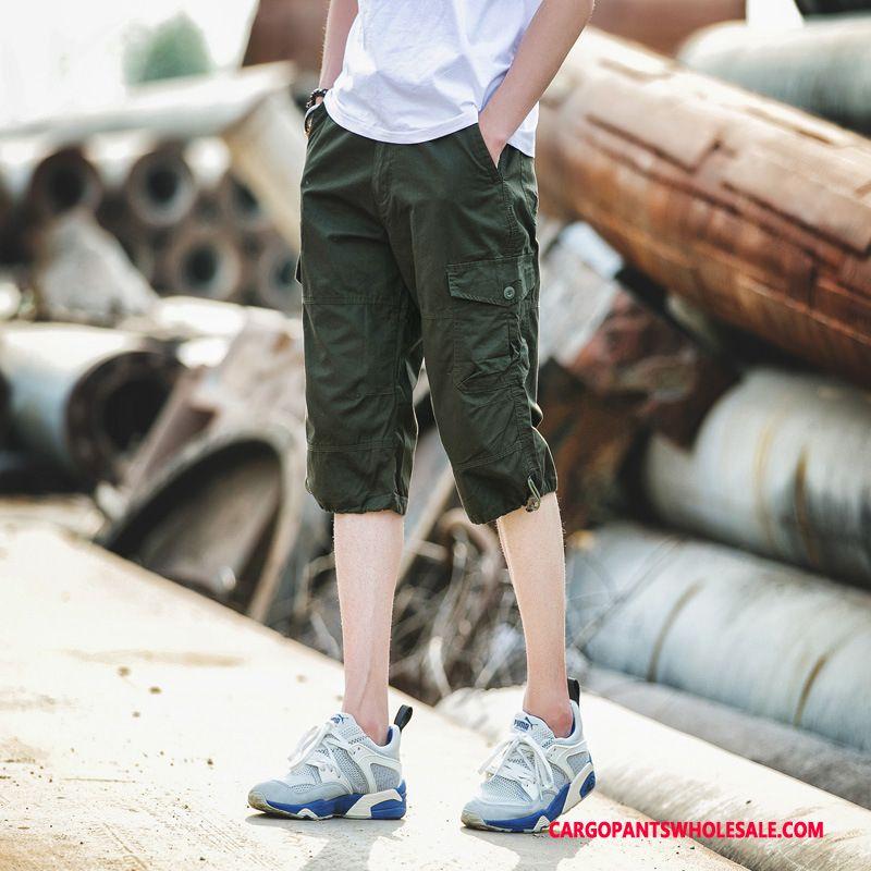 Cargo Shorts Male Army Green Green Shorts Casual Pants Men The New Capri Pants Multiple Pockets