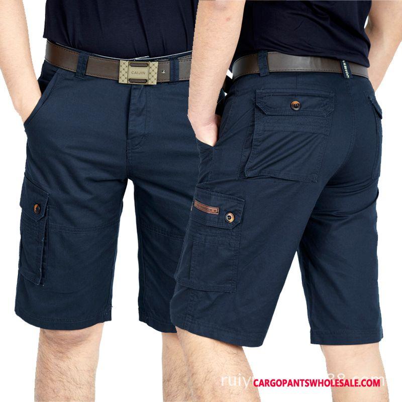 Pantaloncini Cargo Maschio Blu Nero Di Cotone Tasca Uomo Nuovo Pantaloni Casual Pantaloncini