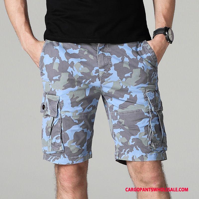 Cargo Shorts Male Blue Loose Medium Large Size Tide Leisure