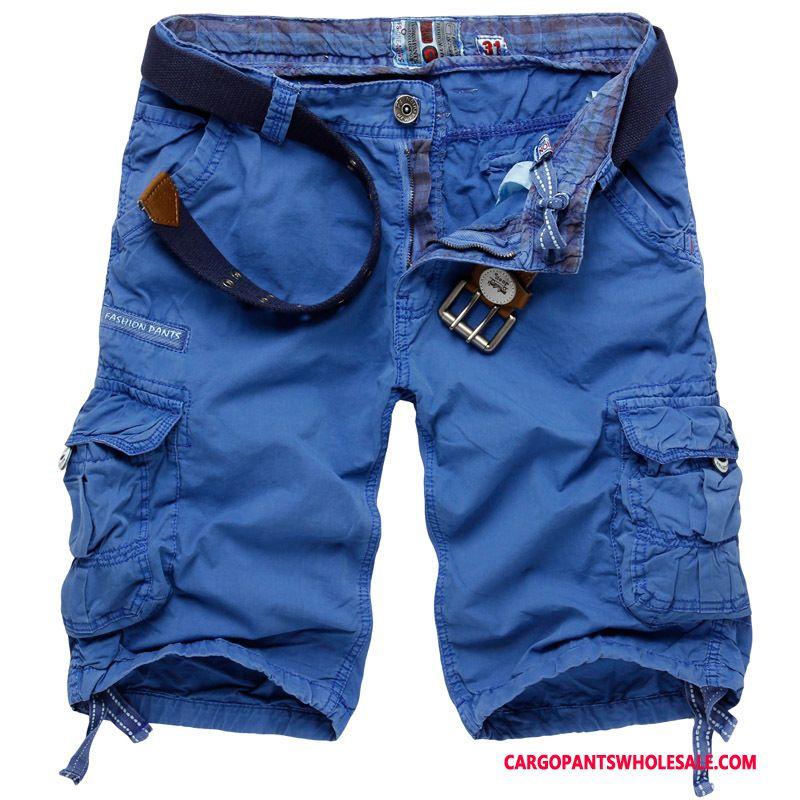 Cargo Shorts Male Blue Multi-pocket Capri Pants Men Men Leisure Medium Large Size