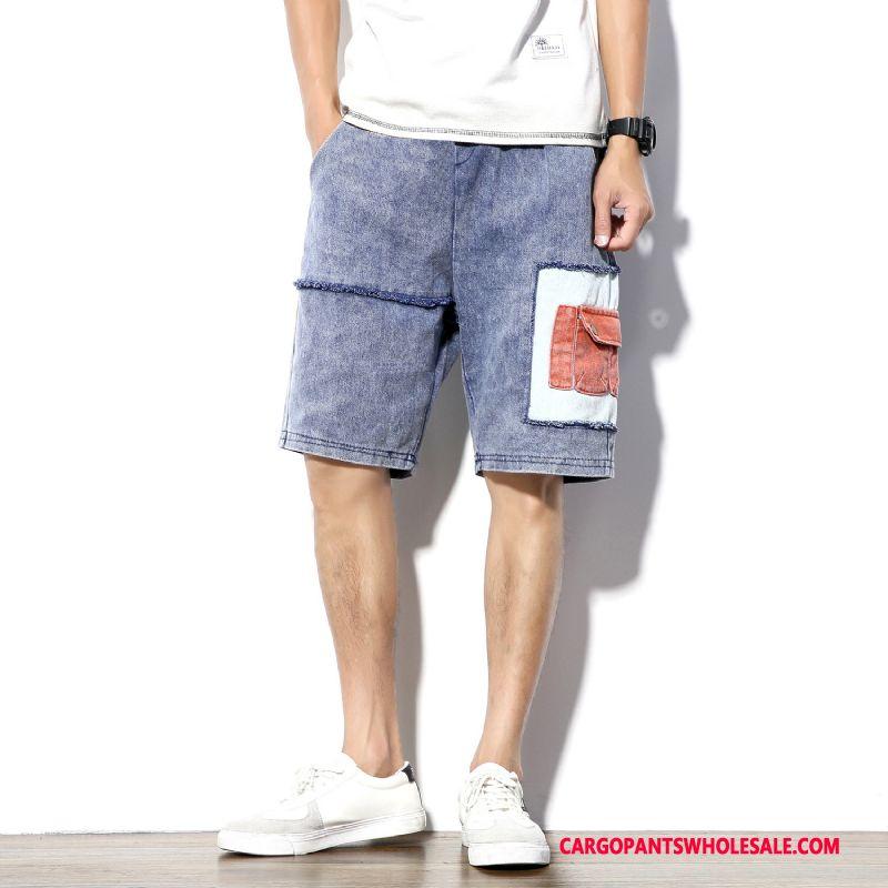 Cargo Shorts Male Blue Summer Cargo Men Plus Size Loose Jeans