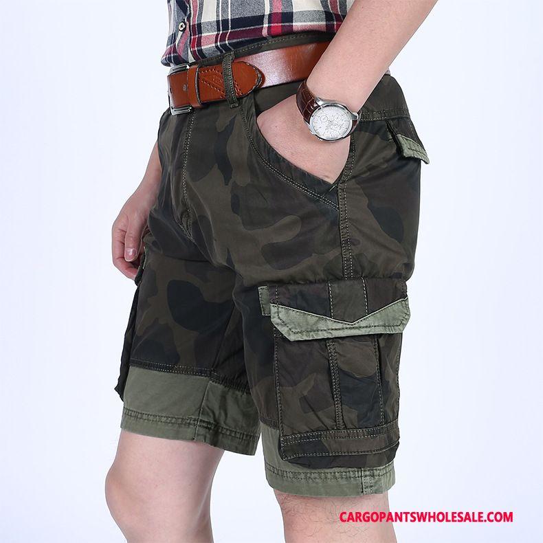 Pantaloncini Cargo Maschio Camuffamento Verde All'aperto Alta Qualità Uomo Pantaloncini Larghi Pantaloni Casual