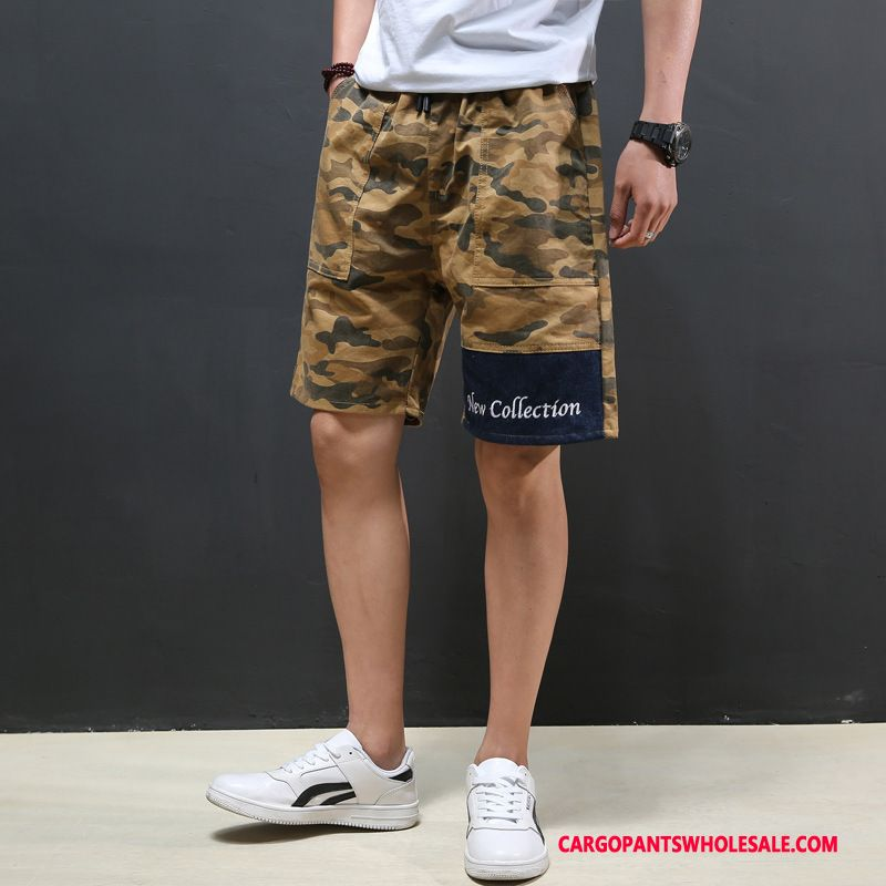 Cargo Shorts Male Camouflage Yellow Summer Pants Loose Shorts Casual Pants