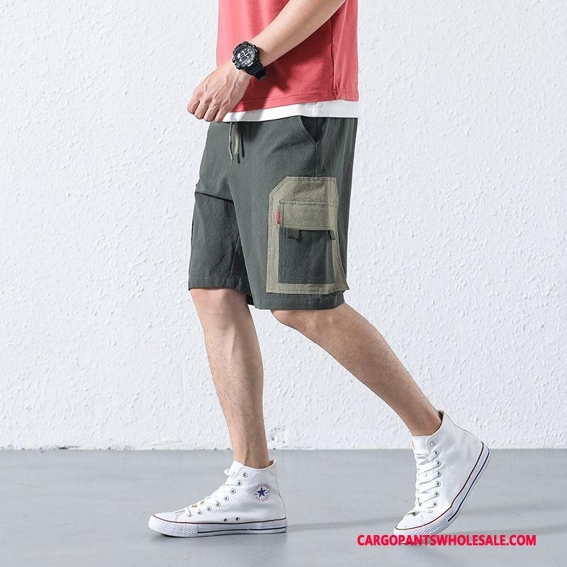 Cargo Shorts Male Gray Shorts Original Cargo Student Tide Brand