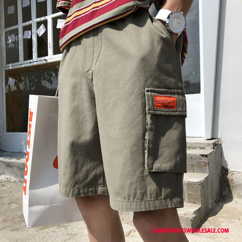 Pantaloncini Cargo Maschio Verde Verde Nuovo Swag Short Dritto Pantaloni Casual