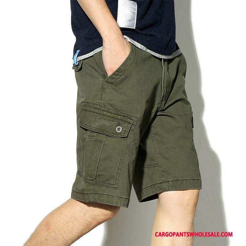 Cargo Shorts Male Green Summer Leisure Multi-pocket Tide Brand Shorts