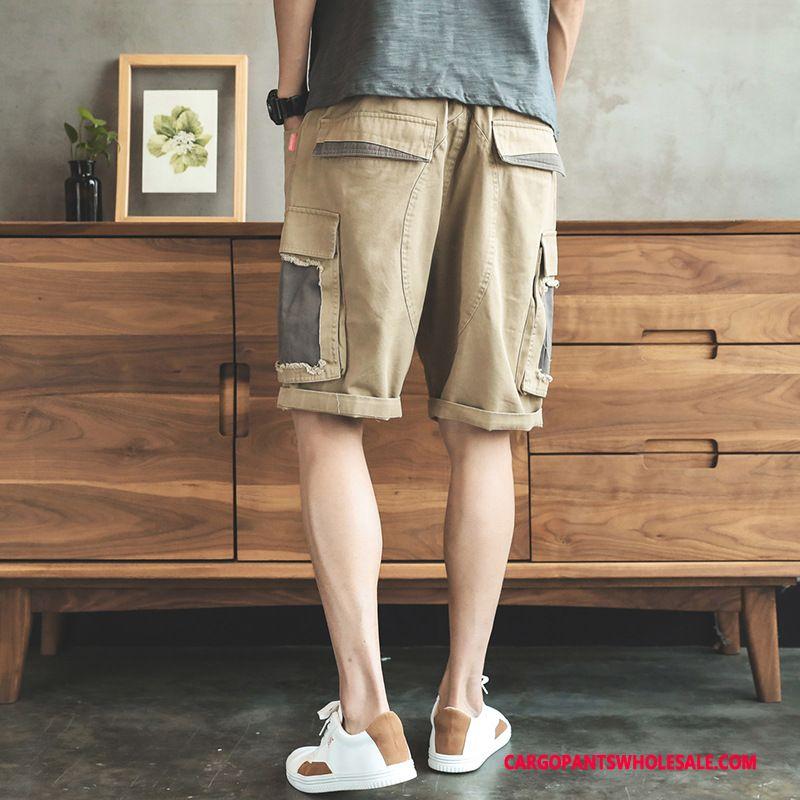 Cargo Shorts Male Khaki Loose Pants Men Leisure Summer Medium