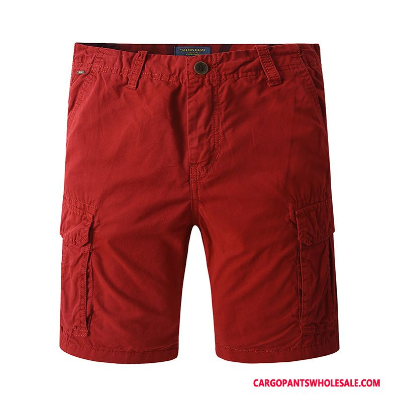Cargo Shorts Male Red The New Multiple Pockets Men Cargo Pants Summer Explosion