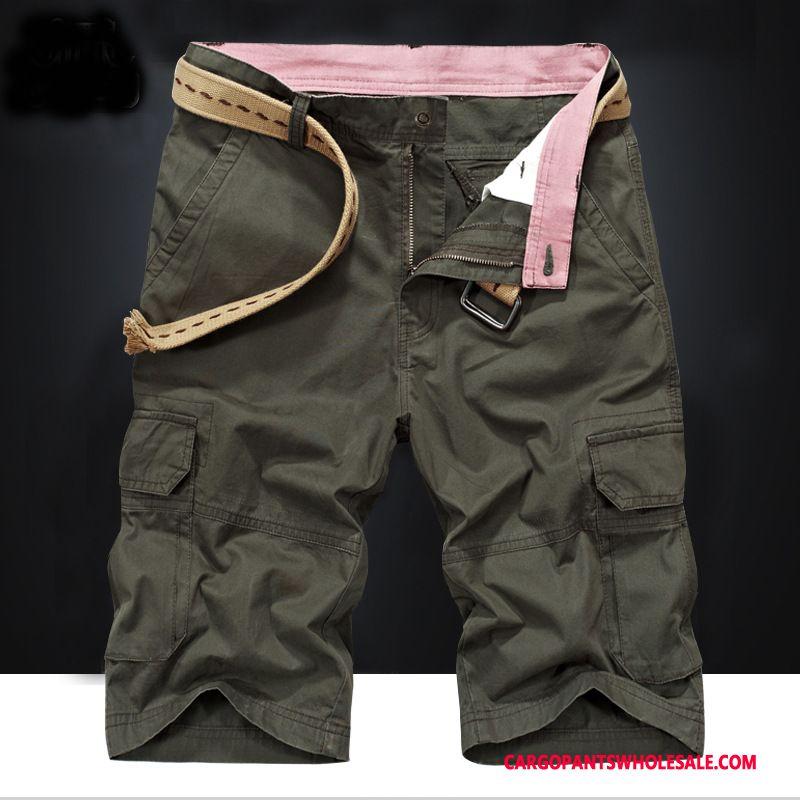 Pantaloncini Cargo Uomo Verde Dell'esercito Da Spiaggia Nuovo Cargo Estate Pantaloncini